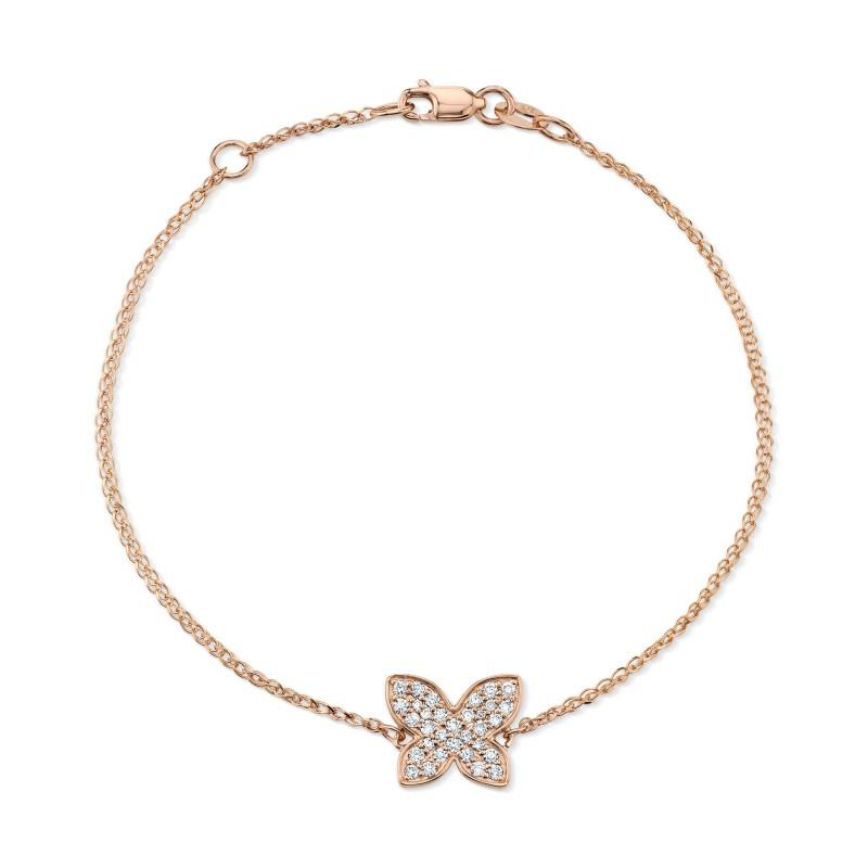 Kids' 14k Rose Gold Diamond Butterfly Bracelet