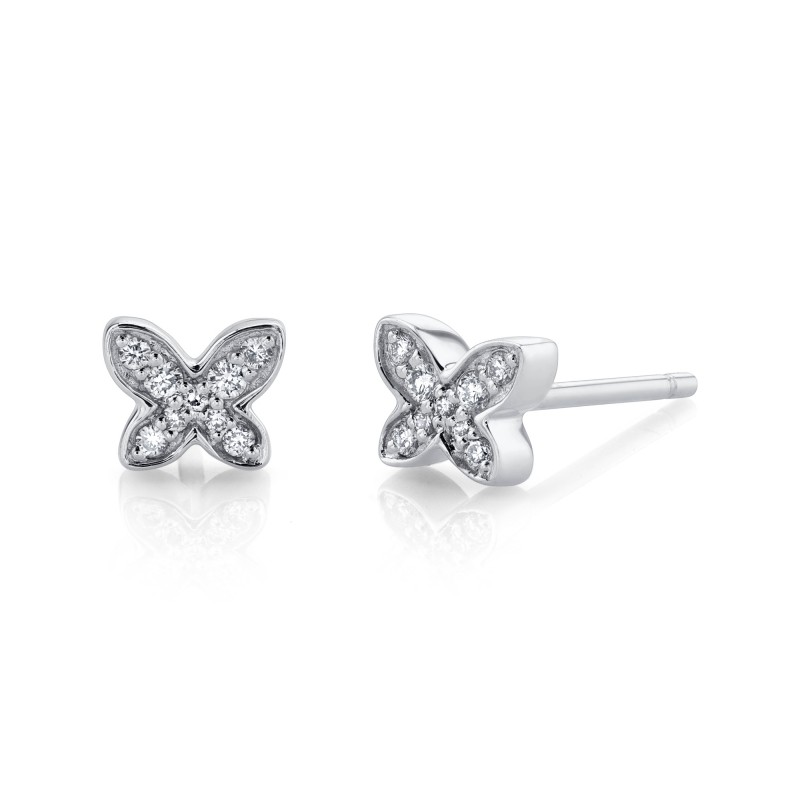 14k White Gold Diamond Mini Butterfly Earrings
