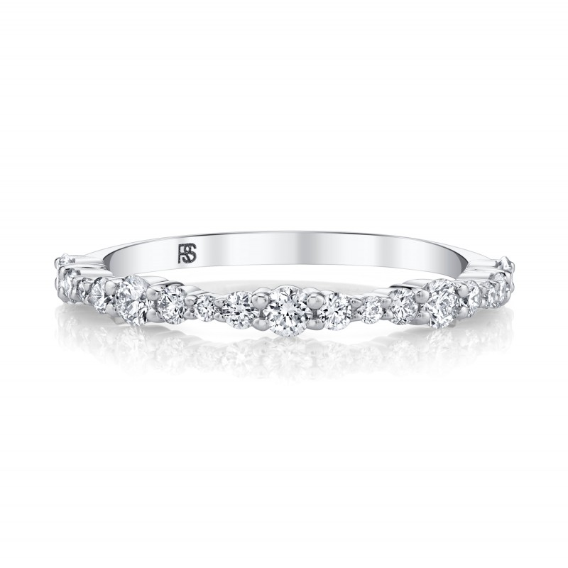14k White Gold Graduated Diamond Shared Prong Stack Ring