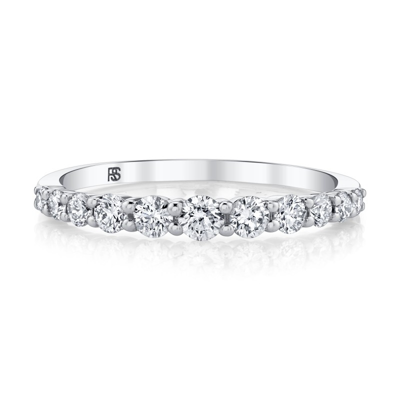 14k White Gold Graduated Diamond Stack Ring