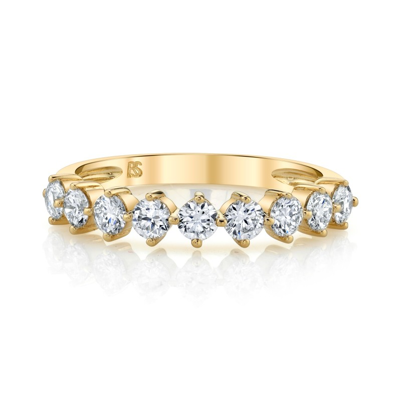 14k Yellow Gold Diamond Compass Stack Ring