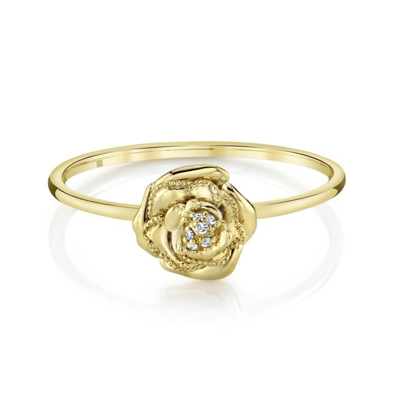 14k Yellow Gold Diamond Rose Ring