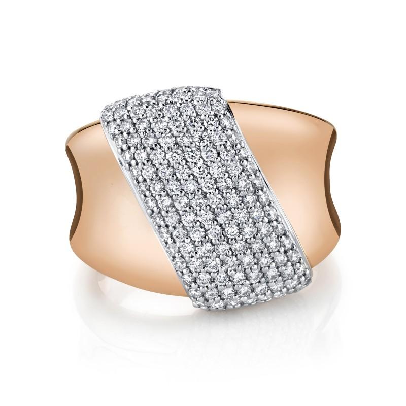 14k Rose Gold Diamond Pave Slash Ring