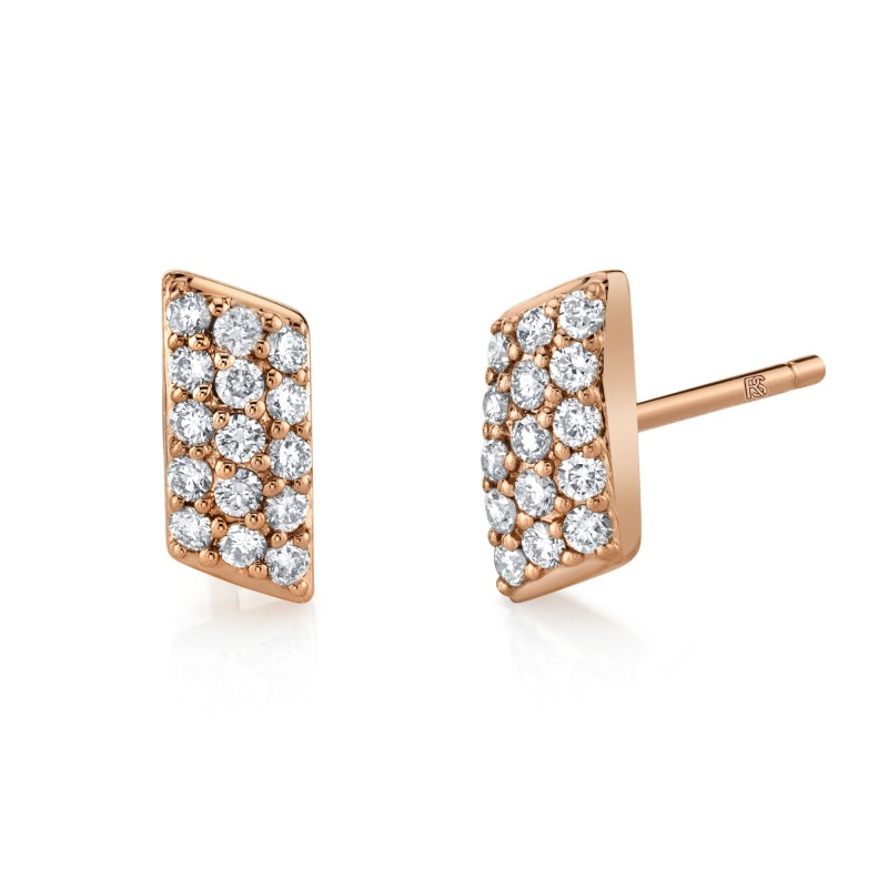 14k Rose Gold Diamond Pave Slash Bar Earrings