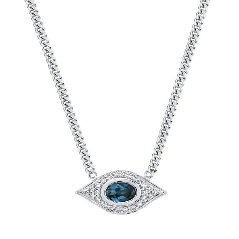 14k White Gold Diamond Oval Blue Topaz Evil Eye Necklace