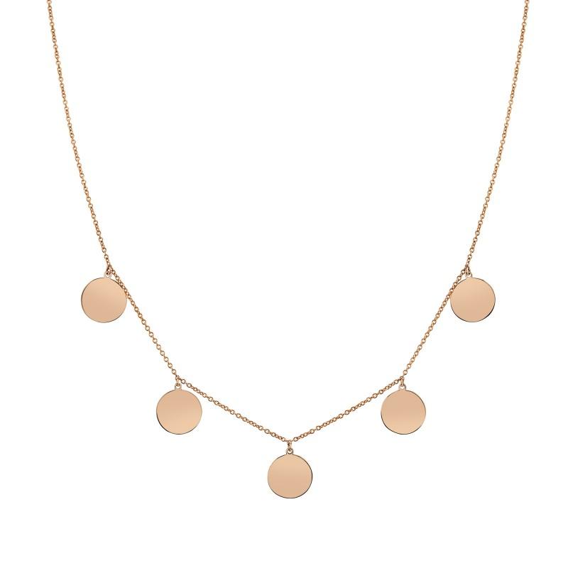 14k Rose Gold 5 Disc Necklace