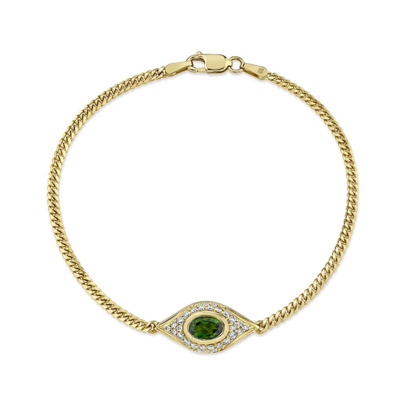 14k Yellow Gold Diamond Oval Green Tourmaline Evil Eye Bracelet