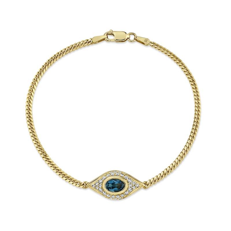 14k Yellow Gold Diamond Oval Blue Topaz Evil Eye Bracelet