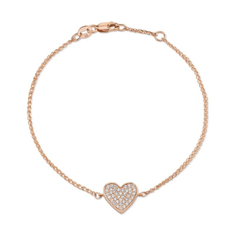 Kids' 14k Rose Gold Diamond Floating Heart Bracelet