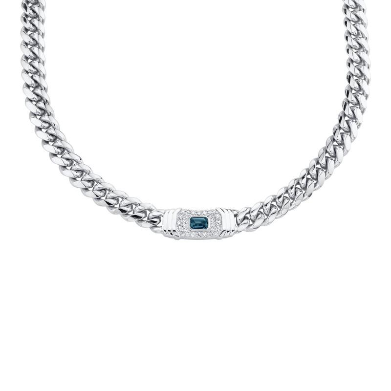 14k White Gold Diamond  Blue Topaz Miami Cuban Link Necklace