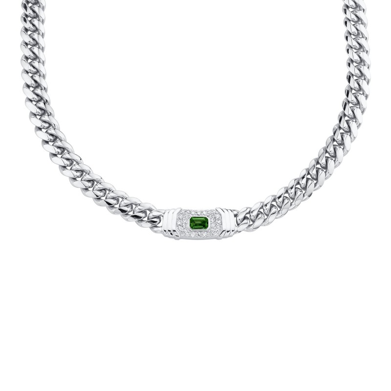 14k White Gold Diamond Green Tourmaline Miami Cuban Link Necklace