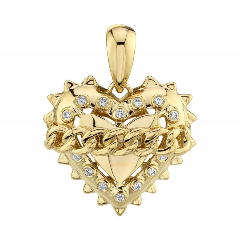 14k Yellow Gold Diamond Link Chain Heart Charm