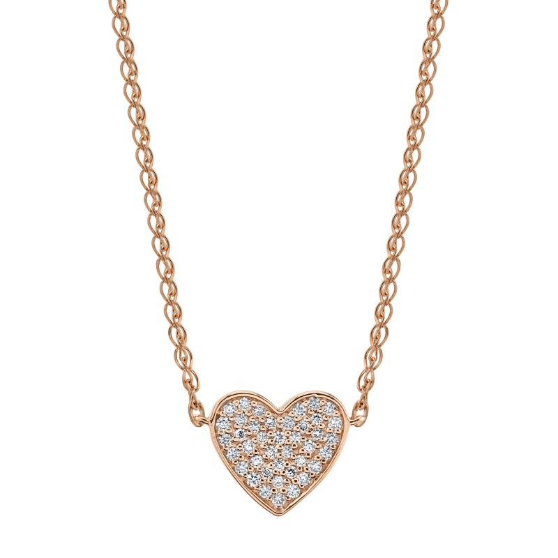 Kids' 14k Rose Gold Diamond Floating Heart Necklace
