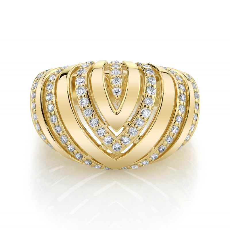 14k Yellow Gold Diamond Chevron Dome Ring