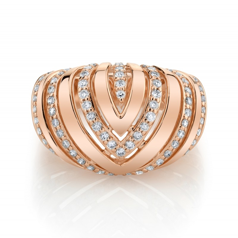 14k Rose Gold Diamond Chevron Dome Ring