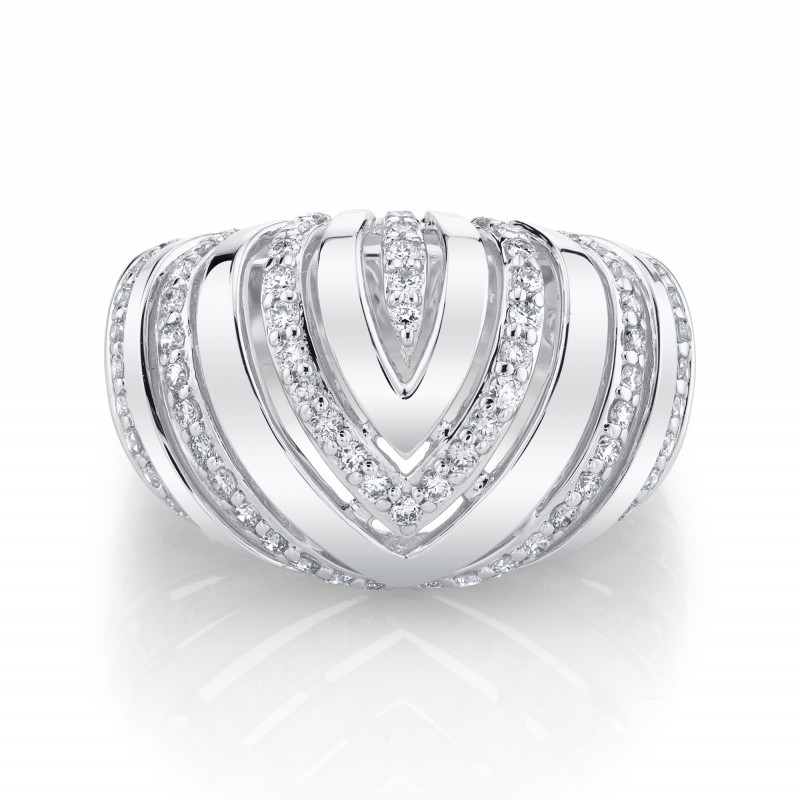 14k White Gold Diamond Chevron Dome Ring