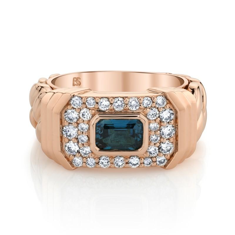 14k Rose Gold Diamond Blue Topaz Link Ring