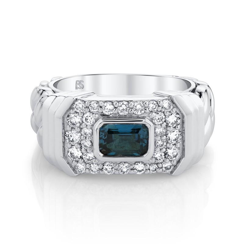 14k White Gold Diamond Blue Topaz Link Ring