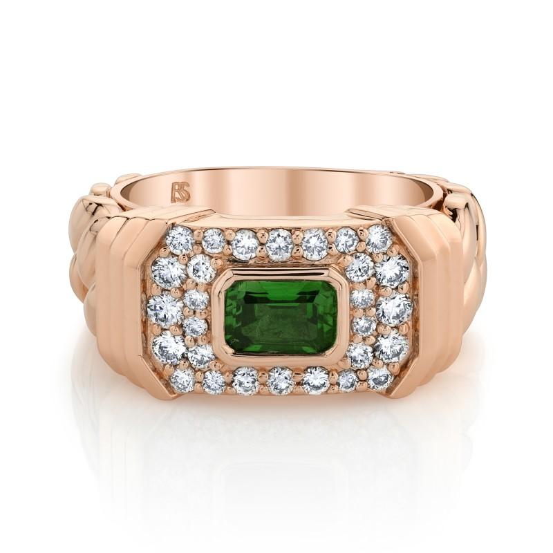 14k Rose Gold Diamond Green Tourmaline Link Ring