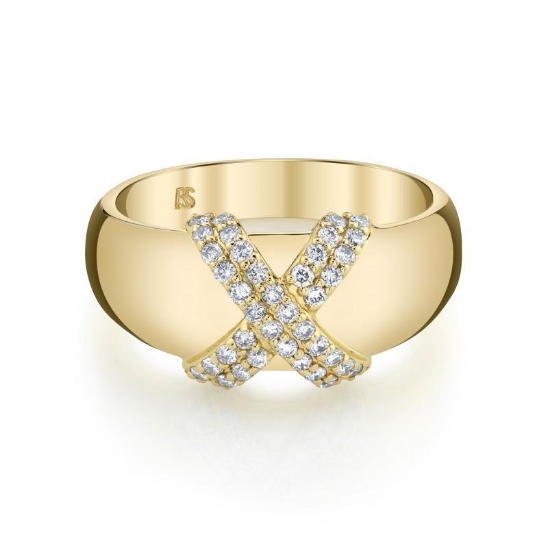 14k Yellow Gold Diamond X Dome Ring