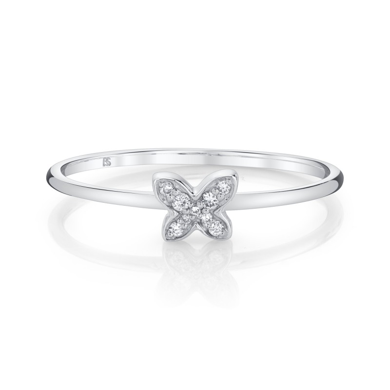 14k White Gold Diamond Mini Butterfly Ring