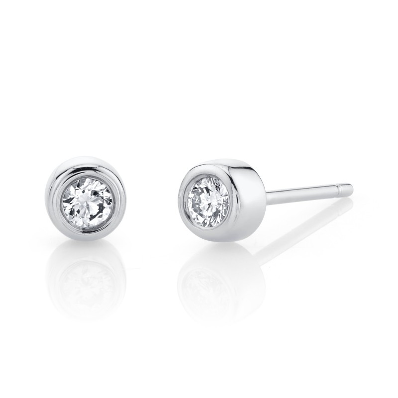 14k White Gold Bezel Set Diamond Stud Earrings