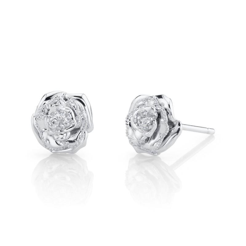 14k White Gold Diamond Rose Earrings