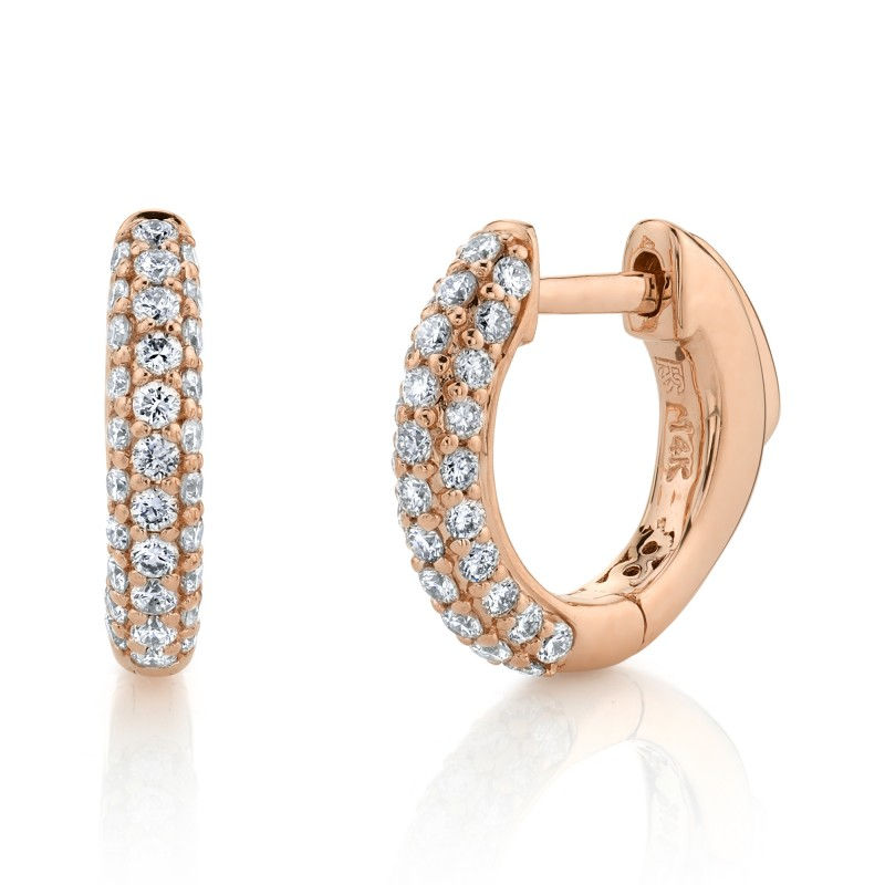 14k Rose Gold Pave Diamond Huggie Hoops with Security Latch