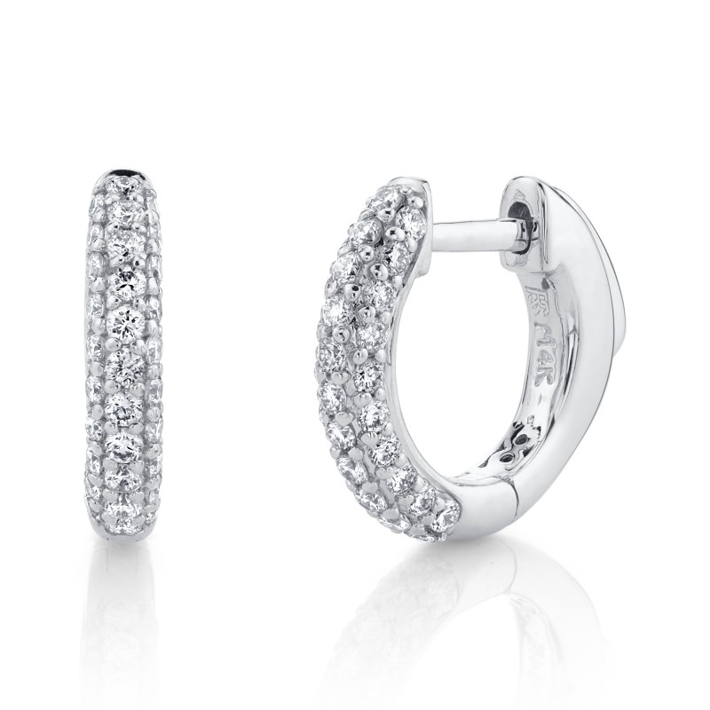 14k White Gold Pave Diamond Huggie Hoops with Security Latch