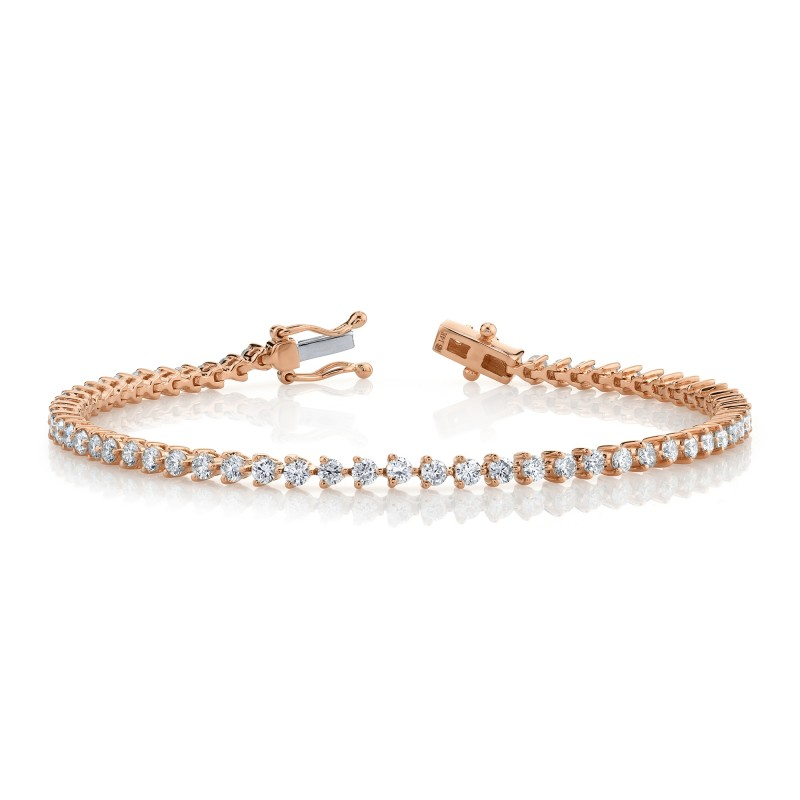 14k Rose Gold 3 Prong 2.5CT Diamond Tennis Bracelet