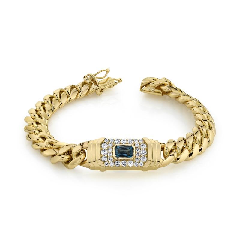 14k Yellow Gold Diamond Blue Topaz Miami Cuban Link Bracelet