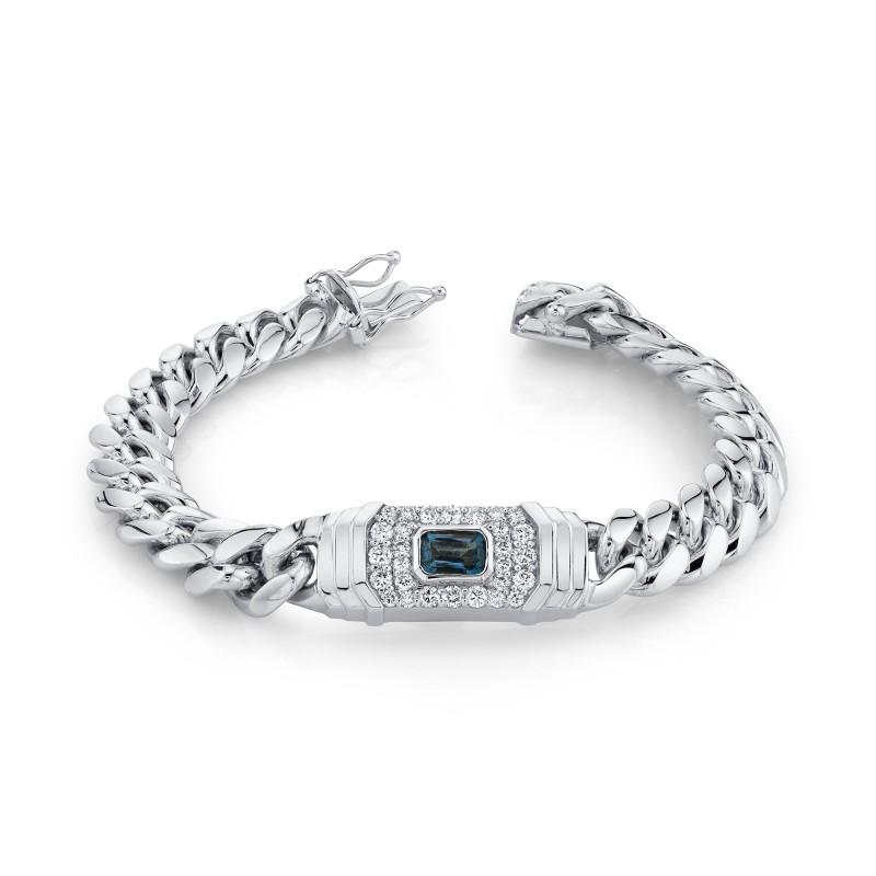 14k White Gold Diamond Blue Topaz Miami Cuban Link Bracelet