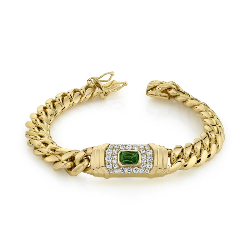 14k Yellow Gold Diamond Green Tourmaline Miami Cuban Link Bracelet