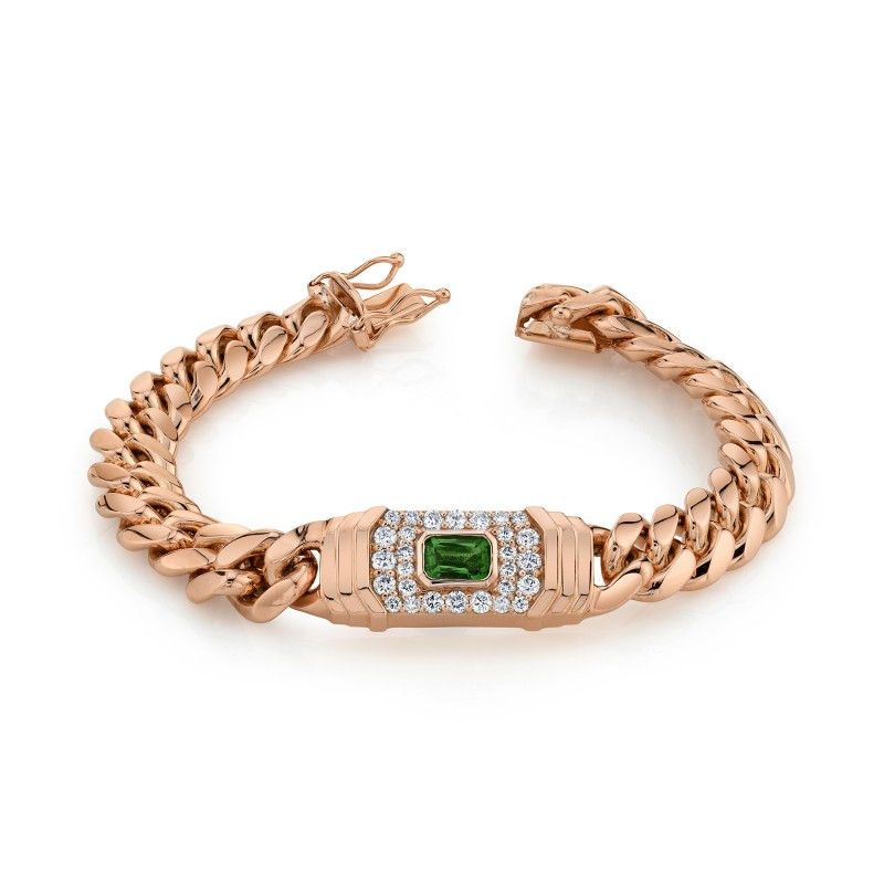 14k Rose Gold Diamond Green Tourmaline Miami Cuban Link Bracelet