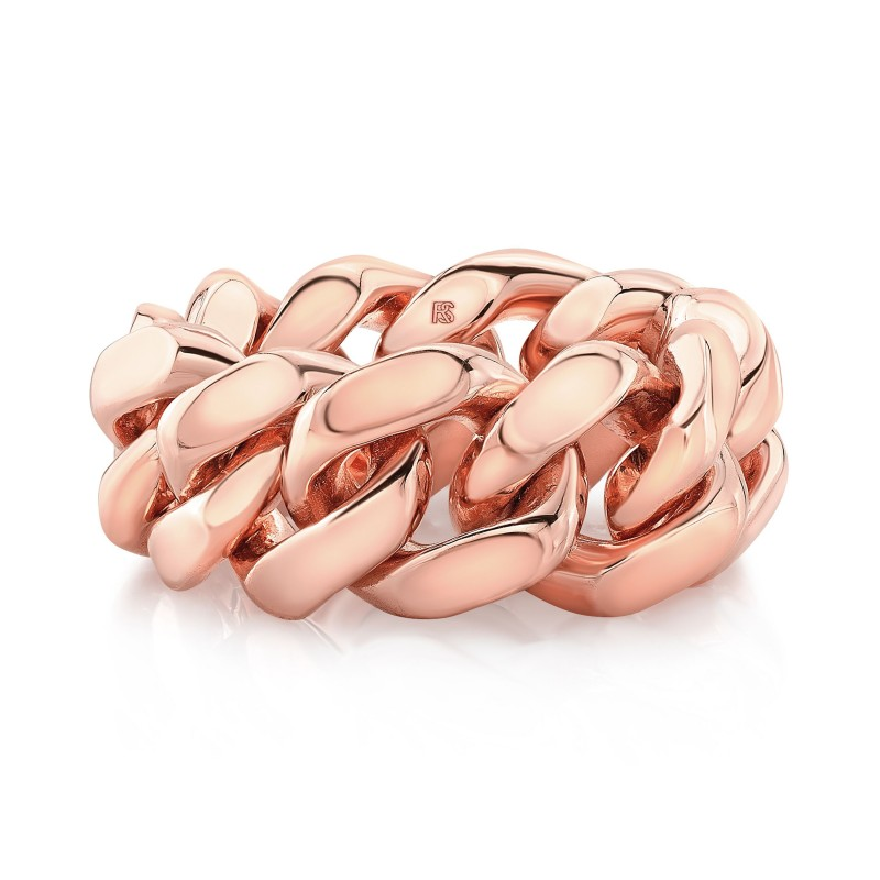 14k Rose Gold Chain Cuban Link Ring