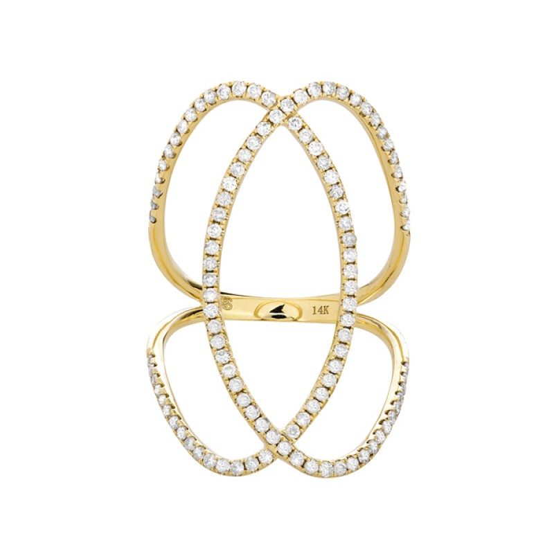 14k Yellow Gold Diamond Infinity Circle Ring