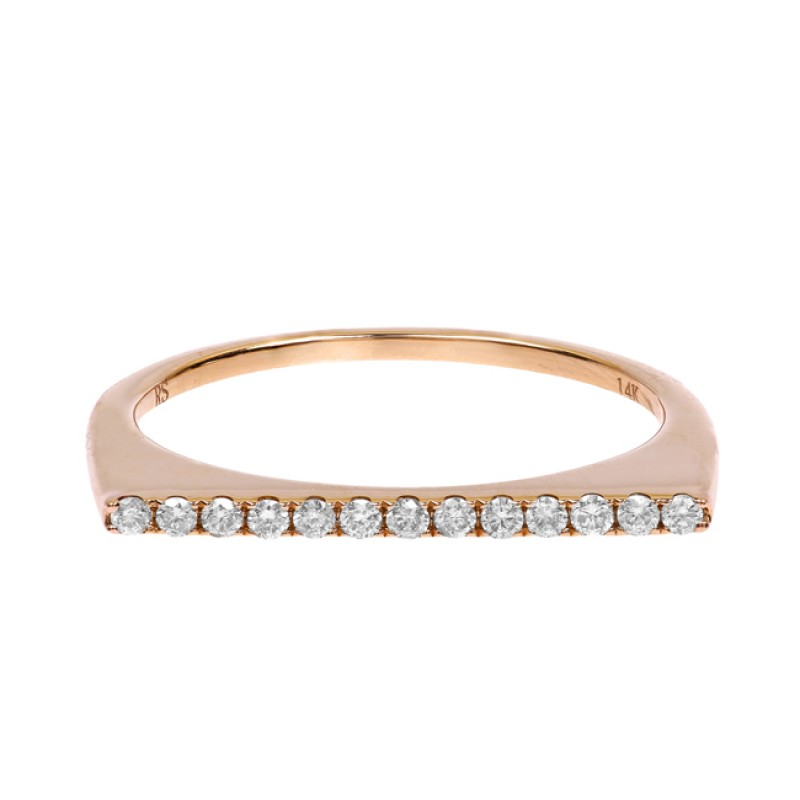 14k Rose Gold Diamond Bar Stack Ring