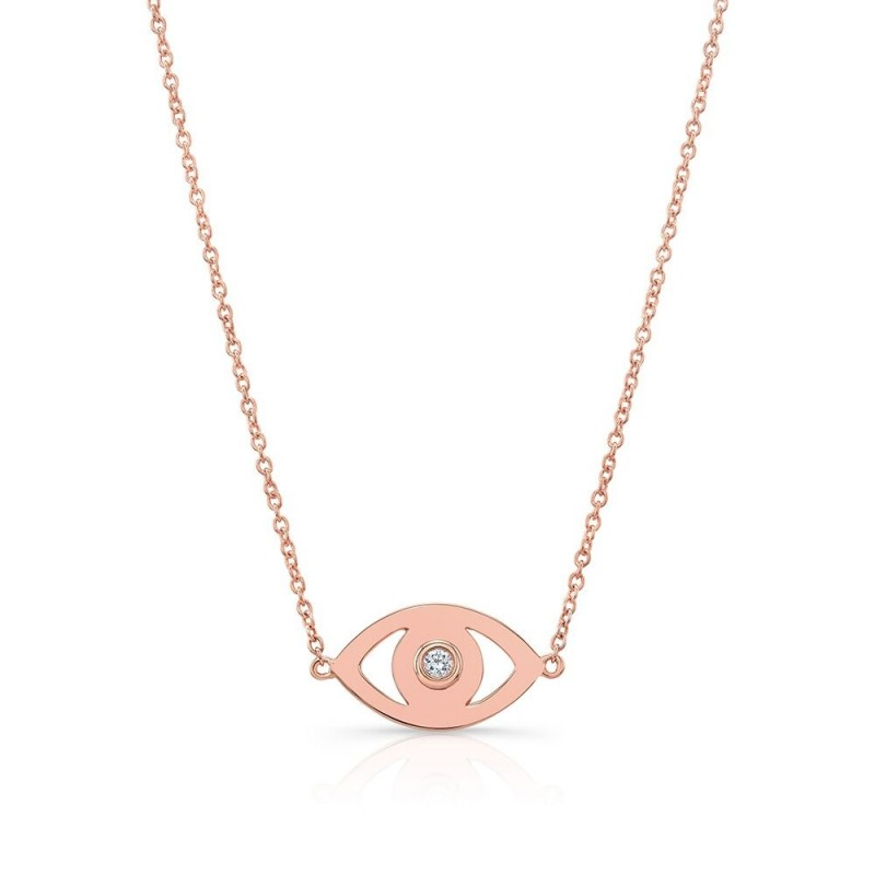 14k Rose Gold Diamond Bezel Evil Eye Necklace
