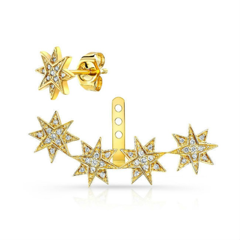 14k Yellow Gold Diamond Starburst Ear Jacket