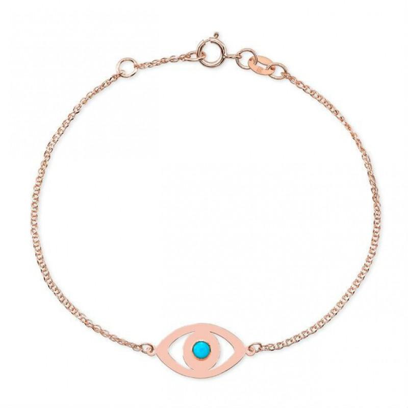 14k Rose Gold Turquoise Bezel Evil Eye Bracelet