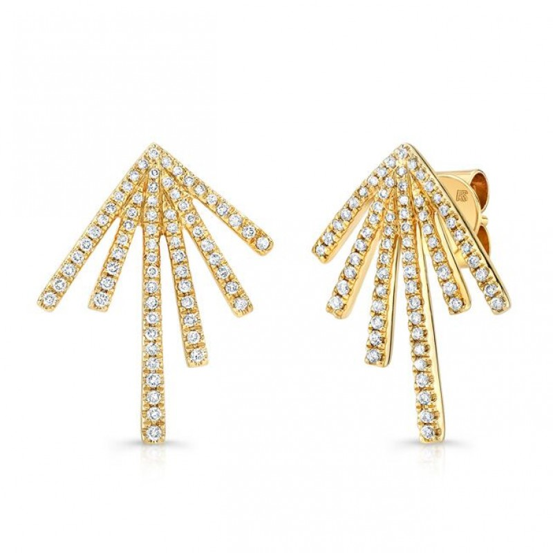 14k Yellow Gold Diamond Spike Earrings