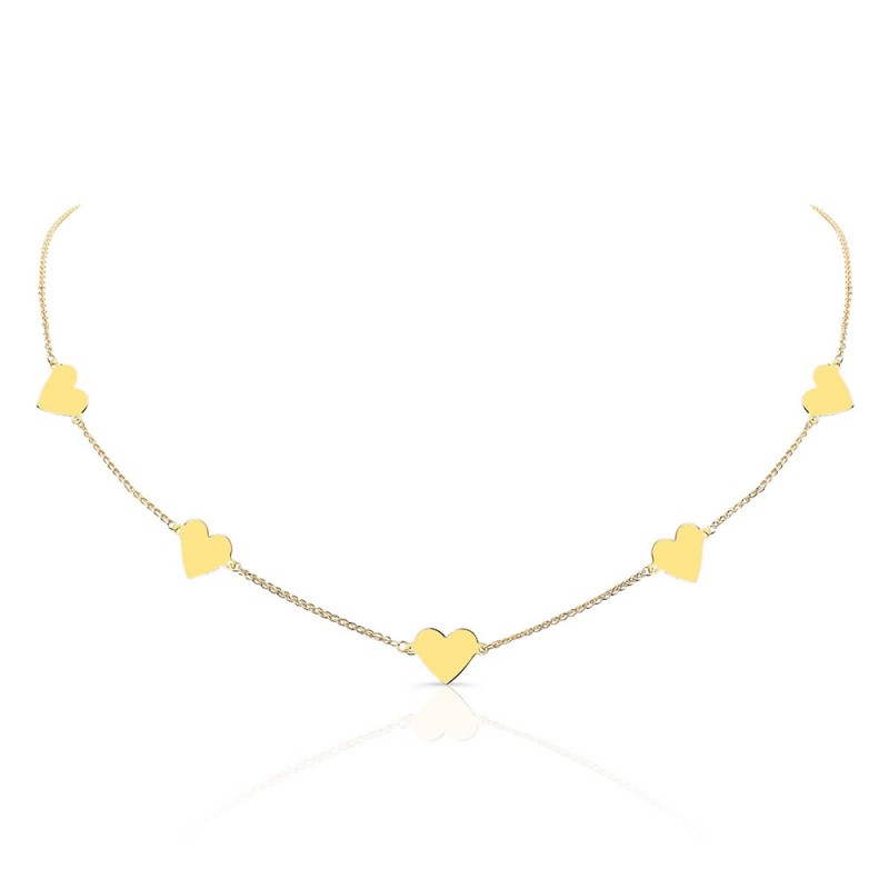 14k Yellow Gold Five Floating Heart Necklace