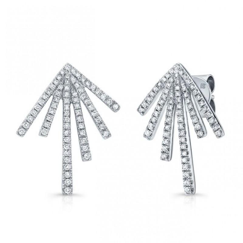 14k White Gold Diamond Spike Burst Earrings