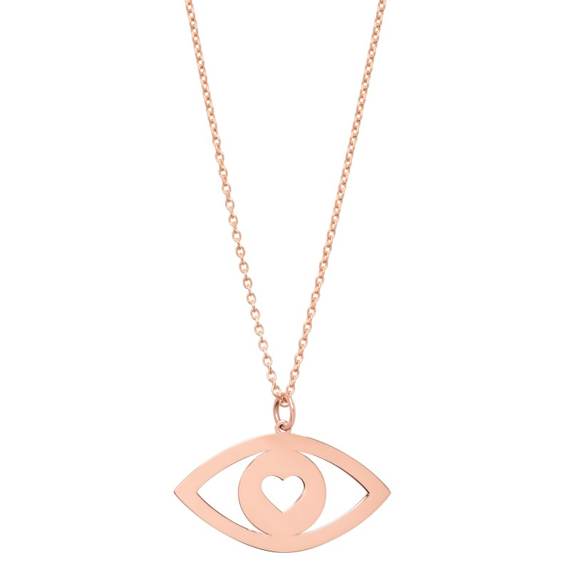 14k Rose Gold Evil Eye Heart Necklace