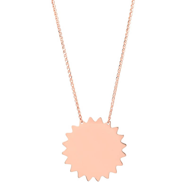 14k Rose Gold Sun Necklace