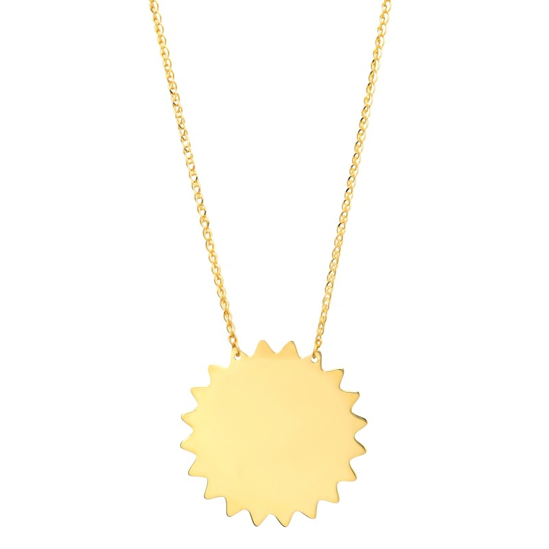 14k Yellow Gold Sun Necklace