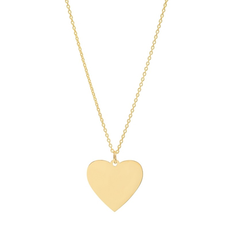 14k Yellow Gold Jumbo Heart Necklace