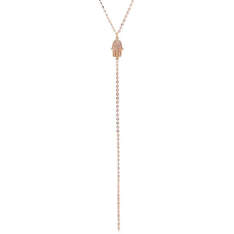 14k Rose Gold Diamond Hamsa Hand of Fatima Lariat Necklace