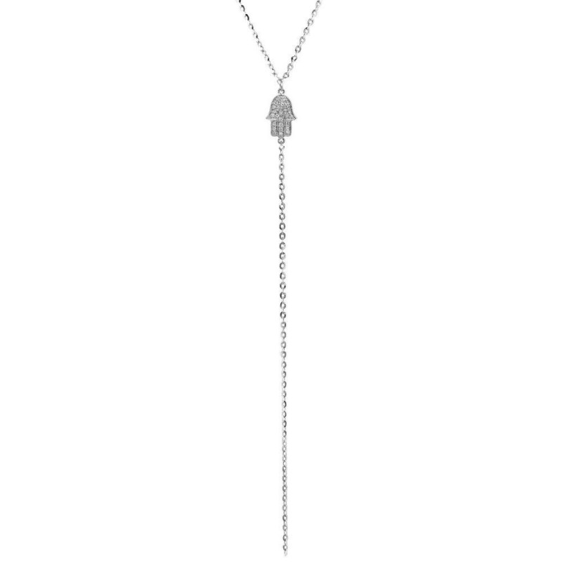 14k White Gold Diamond Hamsa Hand of Fatima Lariat Necklace