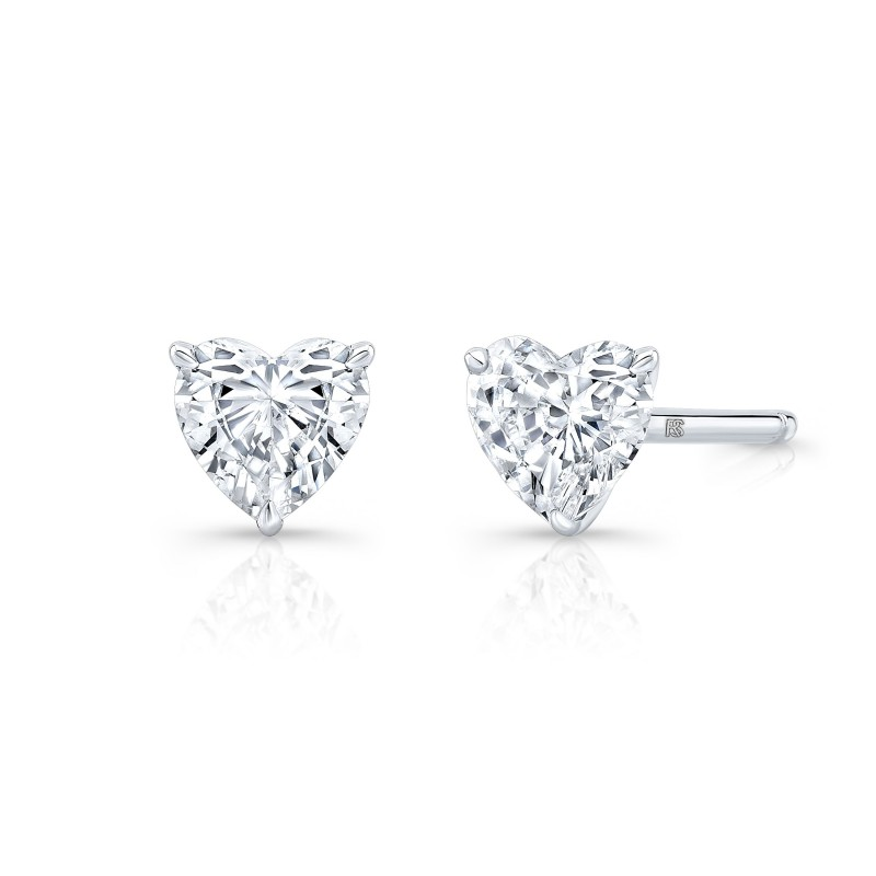 14k White Gold Floating Heart Cut Diamond Stud Earrings